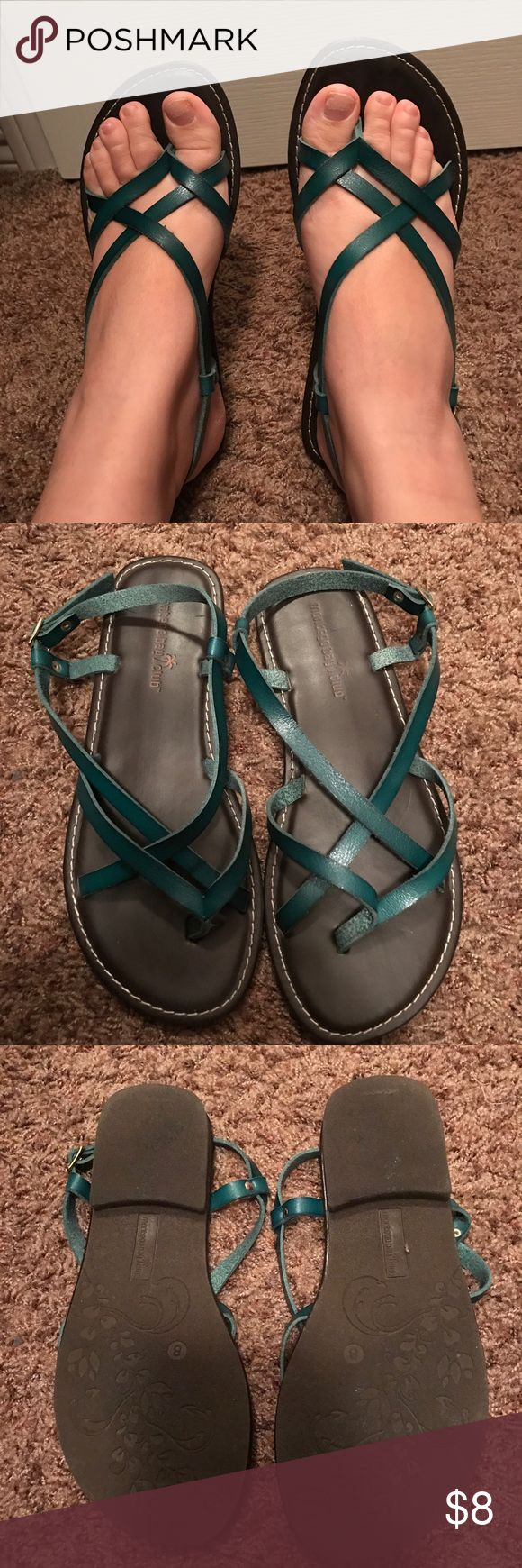Teal sandals Teal strappy sandals. Only worn a couple of times. Shoes Sandals