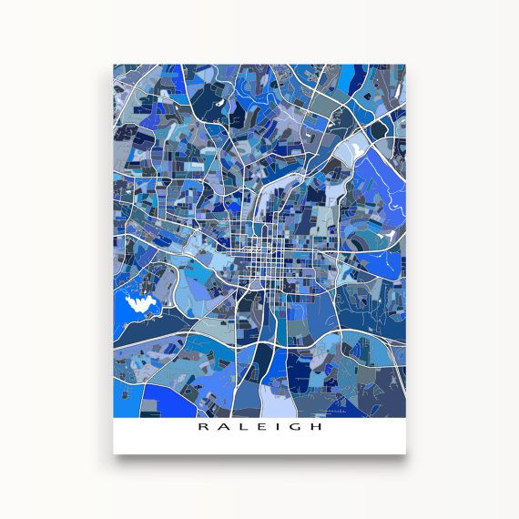 Raleigh North Carolina Raleigh NC Map Print Blue City by MapsAsArt