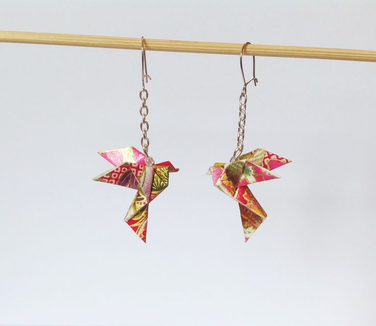 Origami boucles d'oreilles colombe, origami oiseau en papier japonais : Boucles d'oreille par 1000-grues-et-3-donuts