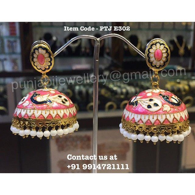 "Punjabi Traditional ""Gold Plated Handmade Meena Work Jhumki"" (Next To Real)  Item Code - PTJ E302  For price please inbox with Image or WhatsApp at this number +91 9914721111 or you can email us at punjabijewellery@gmail.com #punjabi #traditional #jewellery #meena #jhumki #kundan #indian #fashion #facebook #insta"