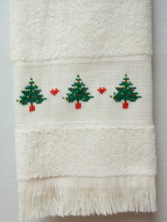 Christmas Trees Cross Stitched Fingertip Velour by luvinstitchin4u, $8.99
