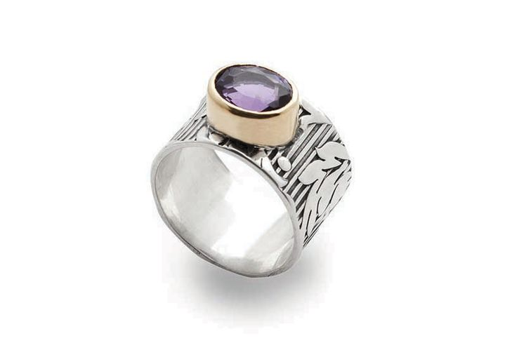Amata Ring // Sterling silver, 18ct gold, Amethyst and Patina  #SterlingSilver #Amethyst #Gold #Patina  #Ring #Jewelry