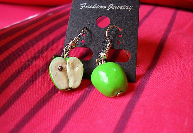 Apple half earrings. 1:12 scale polymer clay miniature. Handmade by me at The Fairy Factoree: https://www.facebook.com/fairyfact?pnref=lhc