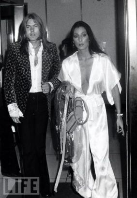 1975– Cher arrives with husband, rocker Gregg Allman at The Dick Cavett Show.: 1975 Cher, Cher Jumpsuit, Gregg Allman, Greg Allman, Rocker Gregg, Cher Arrives, 1970S, Allman Brothers