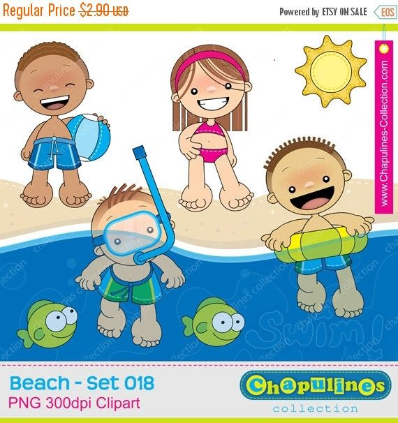 50% OFF Beach clipart kids  fish  sun  by ChapulinesCollection