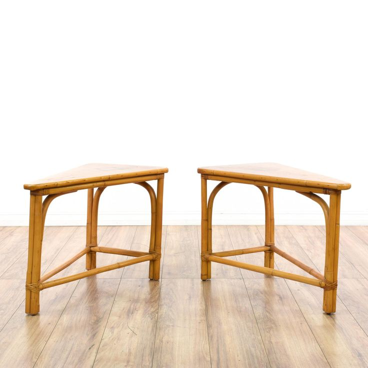 This pair of triangle wedge end tables are featured in a bent rattan with a glossy light wood finish. These bohemian side tables have curved edges with narrow triangle wedge table tops. Unique modular tables perfect as plant stands! #bohemian #tables #endtable #sandiegovintage #vintagefurniture