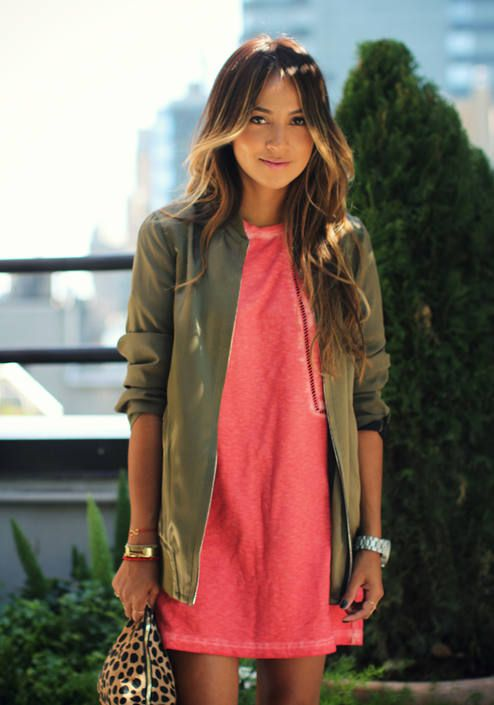 Pair olive green with salmon to transition from summer to fall.