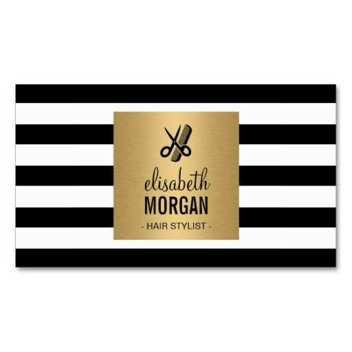 243 best hairstylist business cards images on pinterest hairstylist retro black white stripes gold square standard business card colourmoves