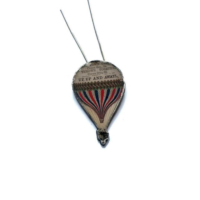 Resin Victoriana Hot Air Balloon Literary Necklace by EllyMental £15.00