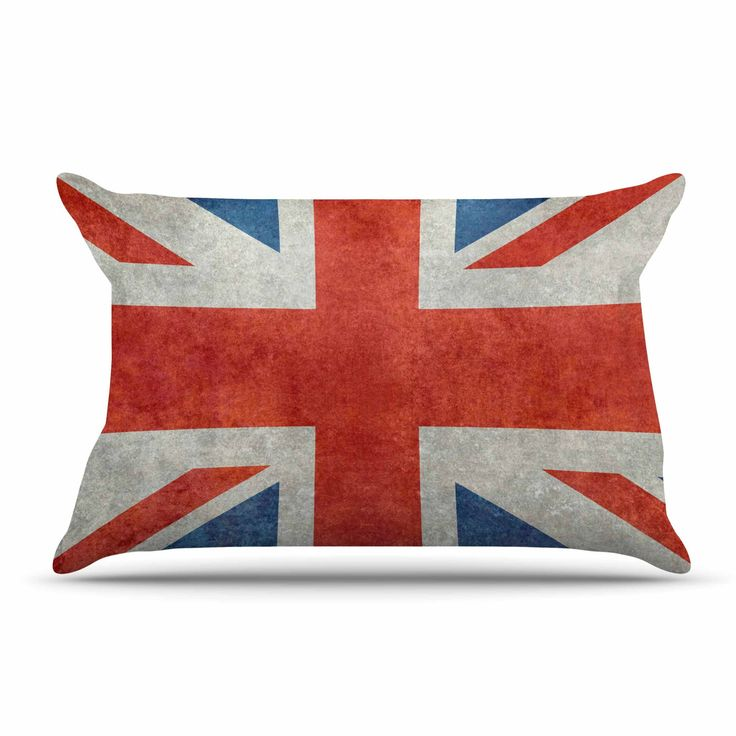 """Bruce Stanfield """"UK Union Jack Flag"""" Red Blue Pillow Case"""