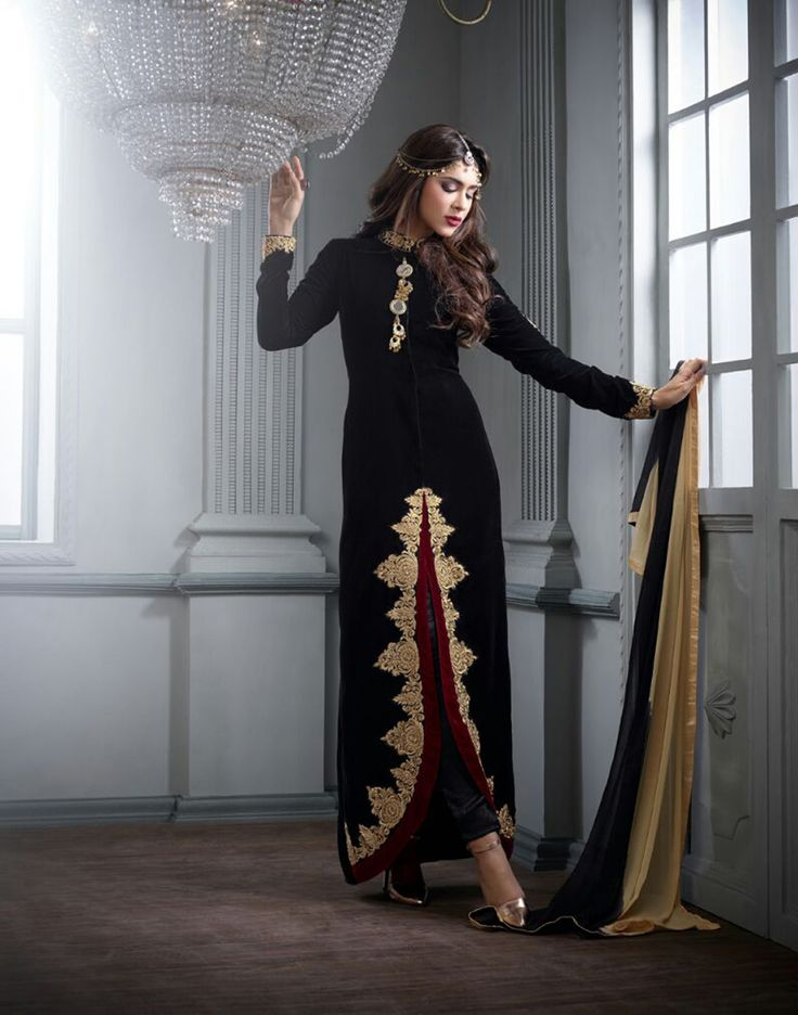 Black Velvet Pakistani Style Suit 65568