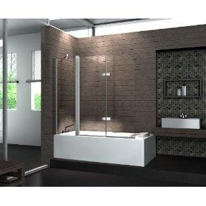 Echt Glas 6 mm Duschabtrennung Duschwand Faltwand Badewanne 150 x 140 cm TRIPLE: Amazon.de: Küche & Haushalt