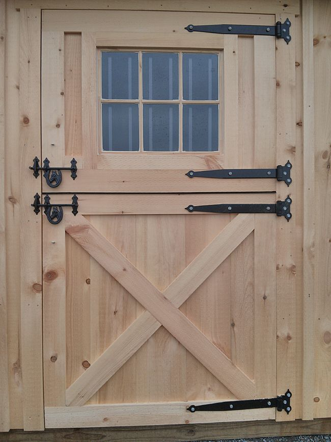 Exterior dutch doors wooden 4x7 dutch door with window for Exterior shed doors design