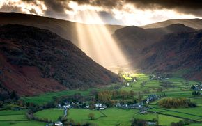 Обои озёрный край, англия, горы, долина