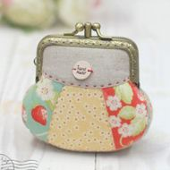 coney double frame wallet wearing patchwork coin purse