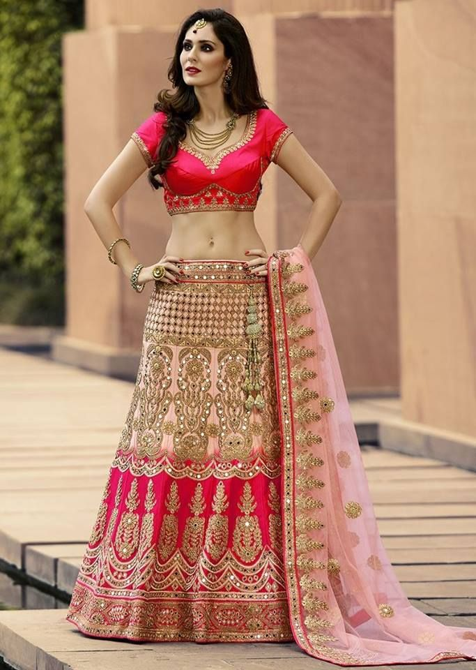 The wedding season is here and this gorgeous lehenga is all you need to flaunt your style. Buy Lehenga online - http://www.aishwaryadesignstudio.com/striking-lehenga-choli-in-shades-of-pink