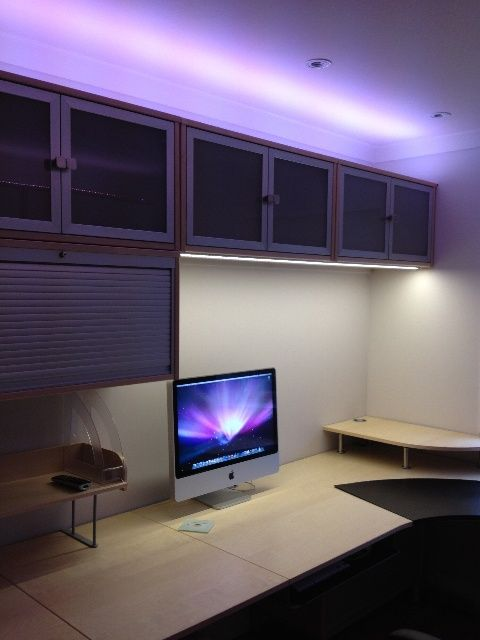 A creative use of LED strip lighting in this office room