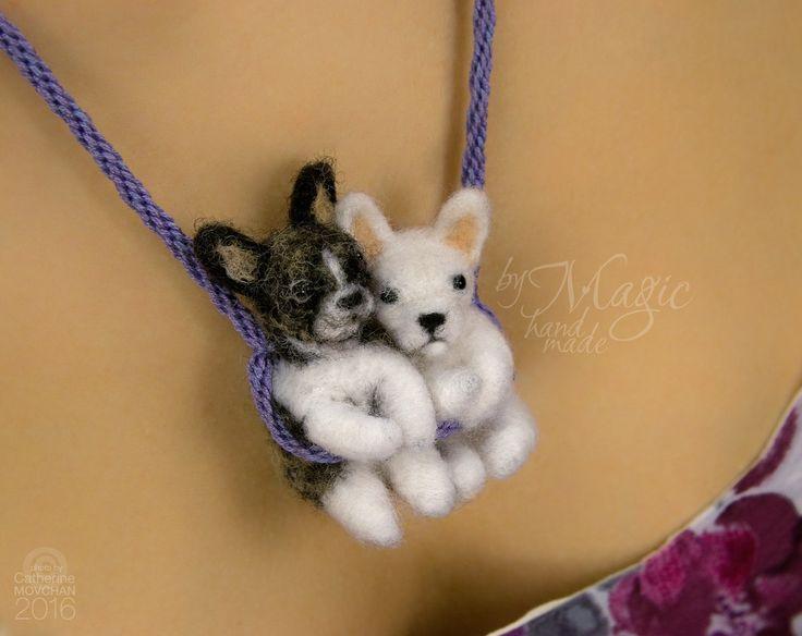 Custom needle felted dog on braided necklace, felted bulldog, pet pendant, toy french bulldog, pet miniature, dog portrait, pet necklace - pinned by pin4etsy.com