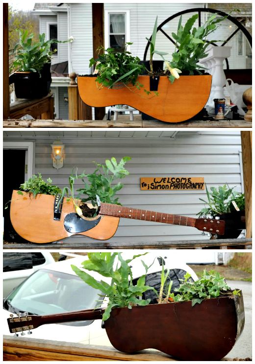 Guitar= planter! ReFab Diaries: Repurpose: Old Guitars can still Rock!