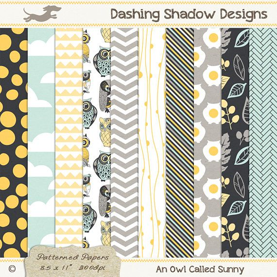 A4 An Owl Called Sunny Digital Printable Scrapbook Craft Paper | Patterns: Polka dots, clouds, triangles, owls, chevron, stripes, leaves, herringbone. This instant download digital paper pack includes ten A4 papers in ten different designs and five cute colours which are exclusive to my A4 collection - Buttercup, Citrus, Sea, Ash and Granite. All sheets have a very subtle and smooth texture, designed to look like paper you'd find in any good quality stationery store.