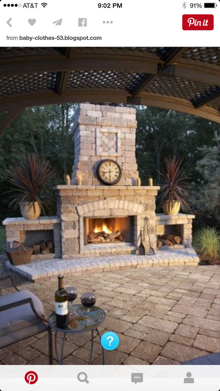 Need we say more? They've even included the glasses and bottle of wine! Love this rustic appeal! https://www.firesidexpressions.com/outdoor-fireplaces.html