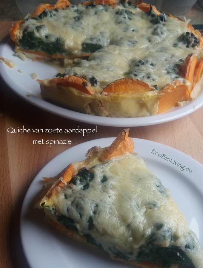 Quiche van zoete aardappels - met vulling van spinazie, ajuin, knoflook, room en eieren - lekkere glutenvrije quiche zelf maken - EcoBioLiving.eu
