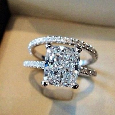 3.10 Ct. Cushion Cut Pave Natural Diamond Wedding Set - GIA Certified