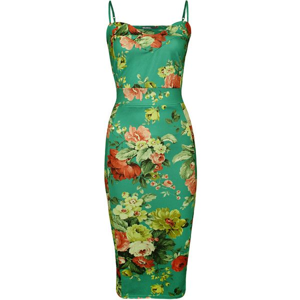 Daniella Tropical Print Strappy Midi Dress (684.430 VND) ❤ liked on Polyvore featuring dresses, green, summer midi dresses, beach dress, neon green dress, green dress and gold bodycon dress