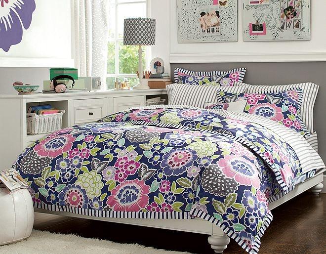 i love the pbteen chelsea floral stripe bedroom on pbteencom