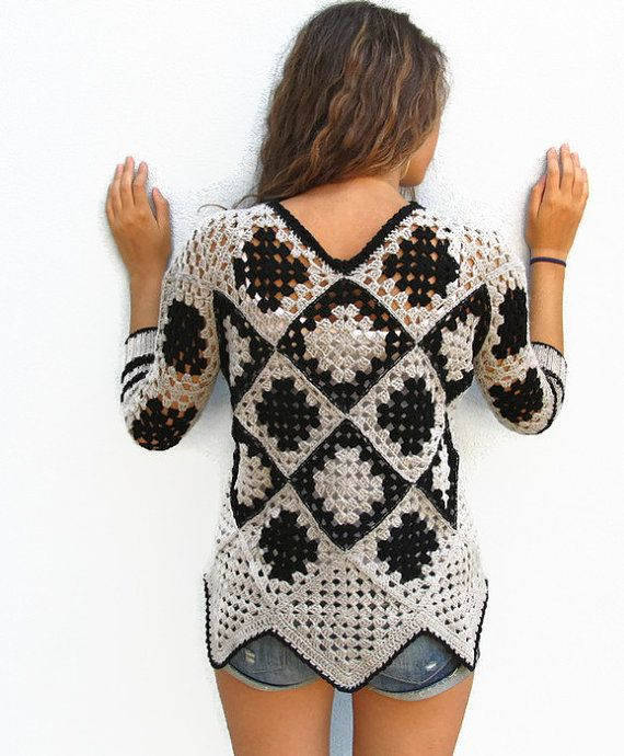 Crochet sweater. Granny square sweater. Crochet pullover. Womens winter sweater. Retro Women Sweater. Gray Black Sweater. One of a kind.  https://www.etsy.com/shop/KrissWool?ref=hdr_shop_menu§ion_id=18868005  --------------Exclusive design by KrissWool------------   Elegant and fine item worked crochet granny square, crochet handmade and hand-made knit cuffs with high quality merino wool  Do you like Summer lace vest, Womens vest or granny square sweaters? Visit this section…