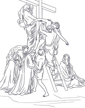 Thirteenth Station - Jesus is Taken Down from the Cross coloring page