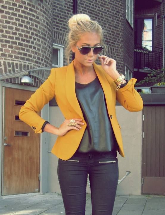 mustard blazer, black leather top, black skinnies and gold details
