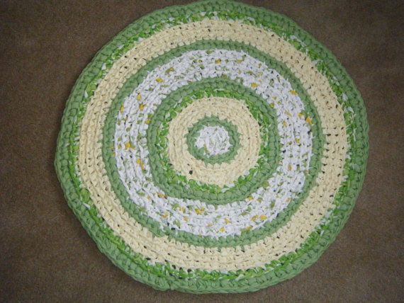 Round Lemon And Lime Color Rug For Etsy By Karenhugheskreations, $40.00