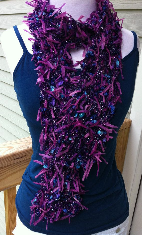 Hand knitted purple novelty yarn long fashion scarf.