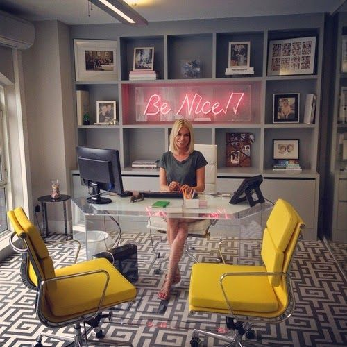 Love the yellow u0026 gray palette of this home office so cheerful! The neon  sign