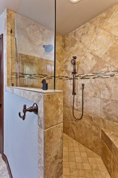 Large Walk In Shower   No Door, Shower Head And Tower On Adjacent Walls For  Good Coverage
