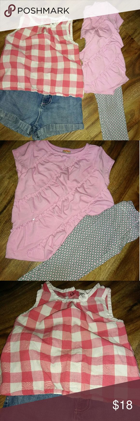 Carter's lot of 2T outfits One red and white top with blue jean shorts,  one pink top and pink,  blue and white leggings Carter's Matching Sets