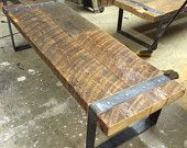 Reclaimed Barn-Wood Bench with Riveted Iron Legs