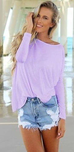 Lavender Piko Bamboo Long Sleeved T-Shirt Loose Slouch Boat Neck ...