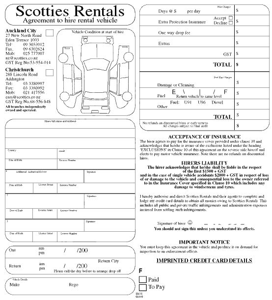 Rental Car Inspection Form Template