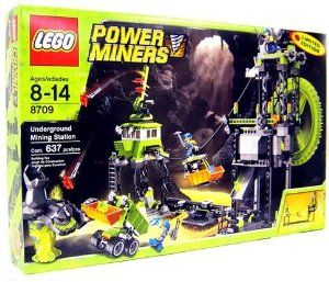 LEGO Power Miners Set #8709 Underground Mining Station (Limited Edition) by LEGO. $329.95. Includes 1 yellow rock-throwing monster and 3 minifigures: 1 engineer and 2 Power Miners and mining truck!. Defend the mining station from the rock monsters! The Power Miners have built this massive underground mining station to help them gather crystals. Transport the precious cargo across lava rivers using the zip line. When rock monsters threaten, spot them with the huge searchlight, ...