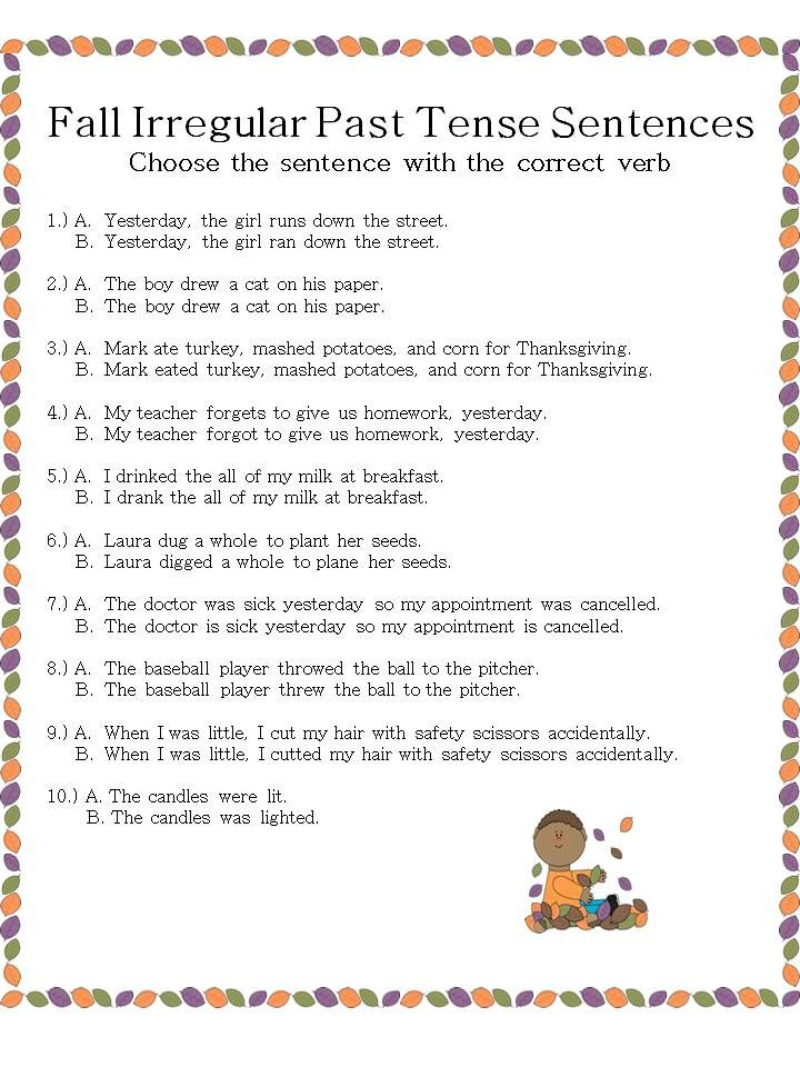 Speechie Freebies: Fall Irregular Past Tense Verb Sentences. Pinned by SOS Inc. Resources. Follow all our boards at pinterest.com/sostherapy for therapy resources.