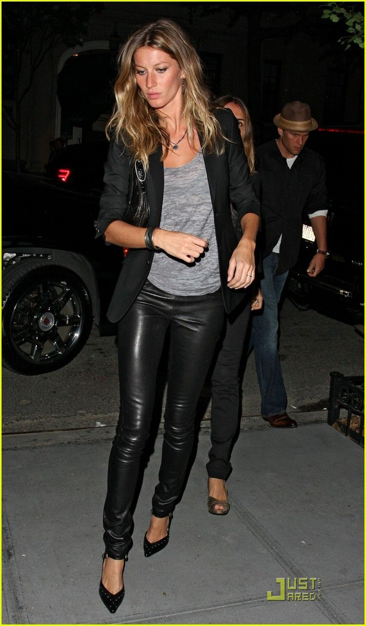 A cute leather pant dressed down - hot Brazilian model helps but I'll work it even if half her height and twice her size!