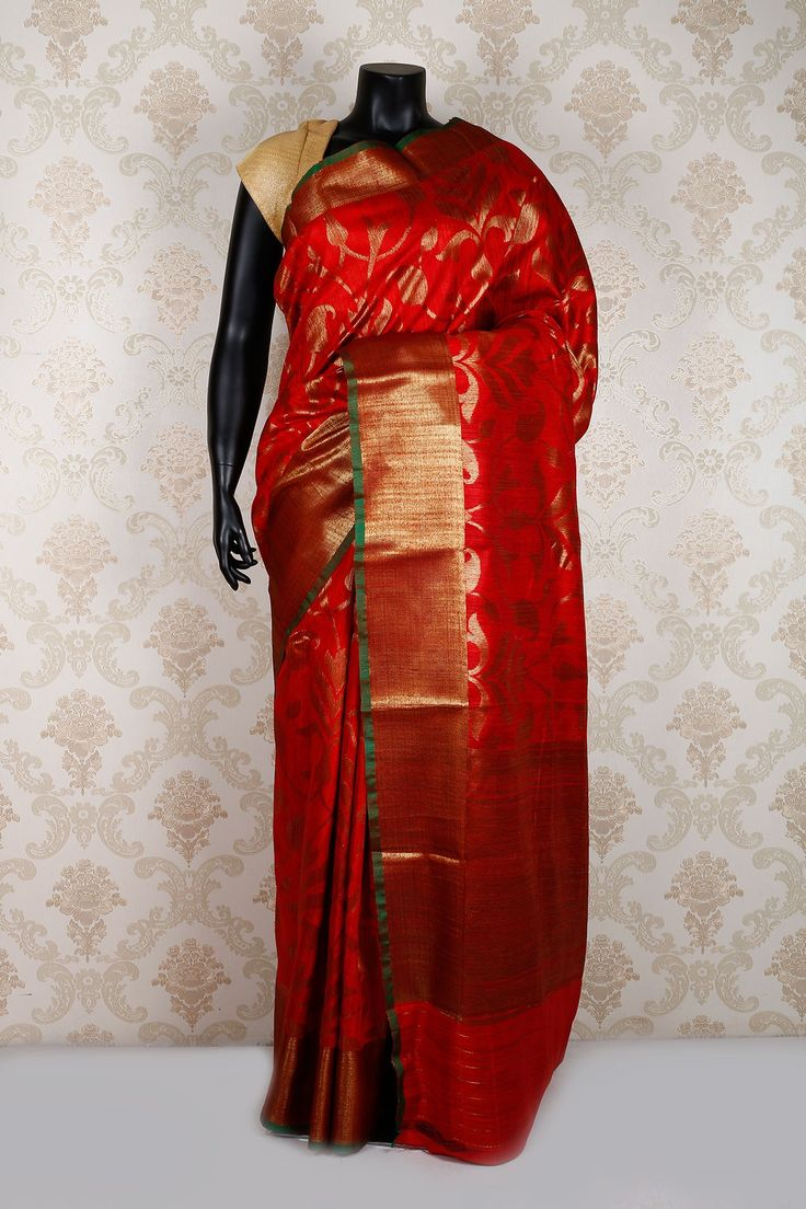 #Red and antique #gold  #banarasi silk #zari weaved enagaging #saree with gold and leaf border. -SR11720