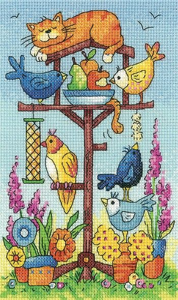 Bird Table counted cross stitch design by Karen Carter. Kit includes fabric, pre-sorted threads, chart and full instructions. The cat is sleeping peacefully while the birds enjoy all the treats. - Available from Johnson Crafts http://www.johnsoncrafts.co.uk/birds-of-a-feather-bird-table.html