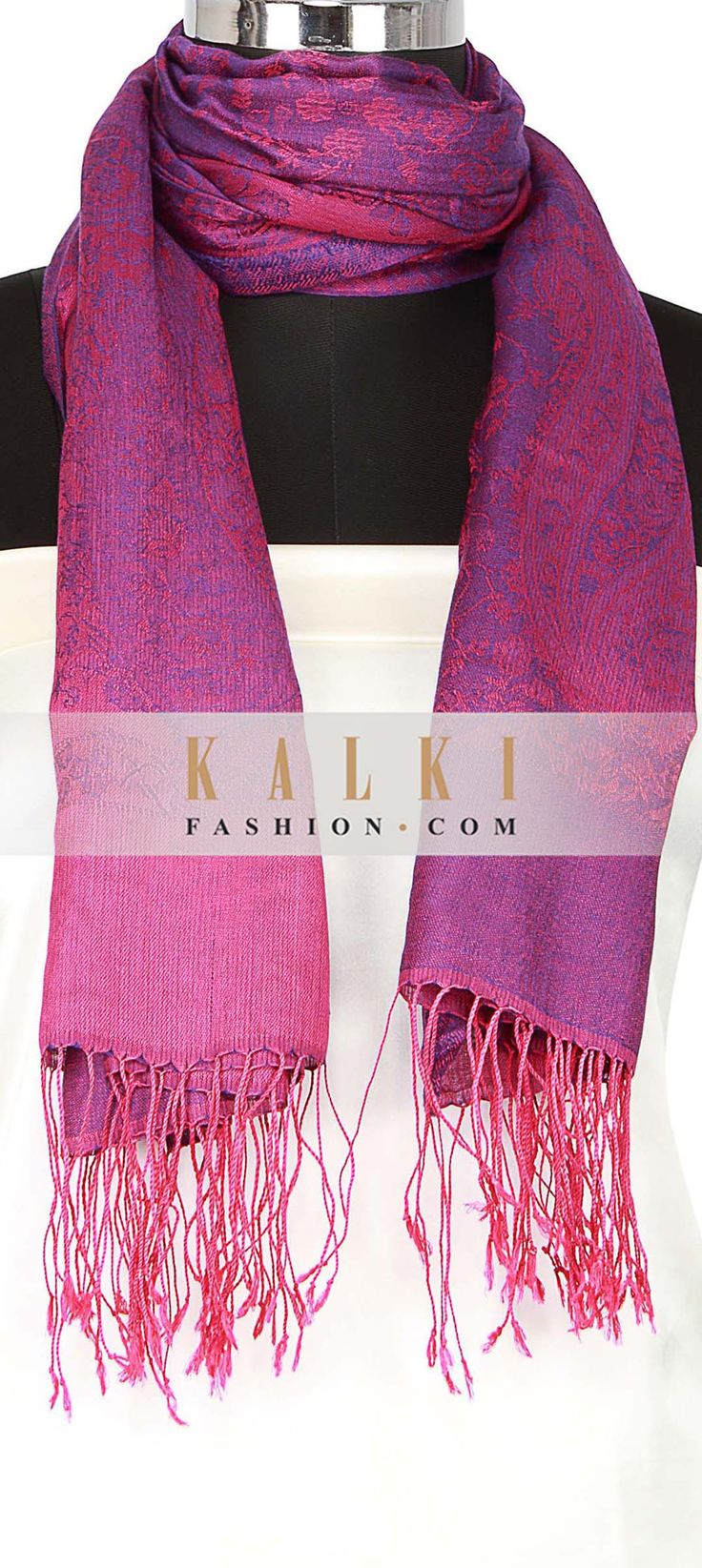 Buy Online from the link below. We ship worldwide (Free Shipping over US$100) http://www.kalkifashion.com/scarf-featuring-in-purple-with-braded-viscose-only-on-kalki.html
