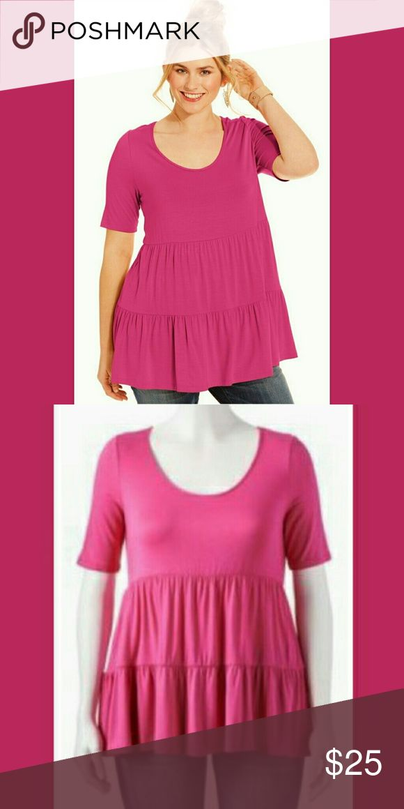 """SOPRANO babydoll tiered hot pink blouse shirt New. No tags.  Size: 1x Scoop neck 95% Rayon 5% Spandex Hot pink short sleeve babydoll  tiered   Approximate Measurements: Length (back to bottom) 23.5"""" Underarm to underarm (across the front) 18.75"""" Shoulder to shoulder 15"""" Waist (laying flat across front) 21"""" Soprano Tops Tunics"""