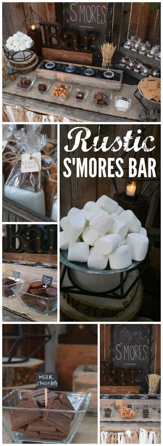 I want to throw a party with this Rustic Smores Bar! How fun!