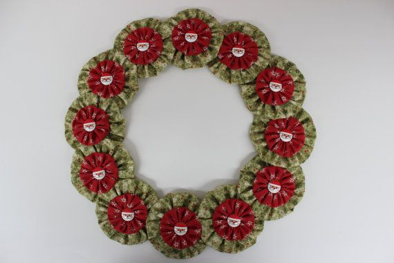 Happy Santa Yo Yo Christmas Wreath
