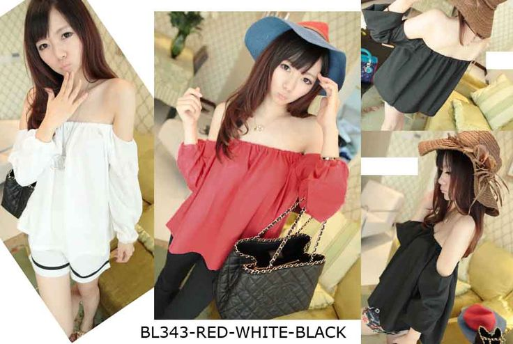 BL343-Red-white-black chiffon - https://www.afwindo.com/shop/pusat-grosir-blouse-murah/bl343-red-white-black-chiffon/
